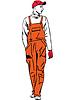 Arbeitnehmer in orange gekleidet Kombination