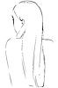 Skizze der blonden Mädchens mit langen Haaren