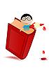 rotes Buch und Knabe
