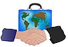Suitcase with world map and hand shake | Stock Illustration