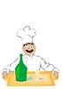 Die der fröhlichen Koch hält ein Tablett mit einer bo