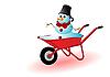 ID 3090583 | Schneemann in einer roten Schubkarre | Stock Vektorgrafik | CLIPARTO