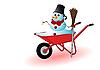 Schneemann in einer roten Schubkarre