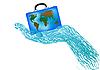eines Koffers mit Globus in der Hand