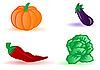 Kohl, Aubergine, Kürbis und Paprika