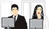 Mann und Frau vor dem Computer