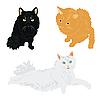 各种颜色的猫 | 向量插图