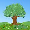 Großer Baum auf Wiese mit Blumen