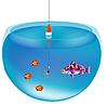 垂钓在水族馆 | 向量插图