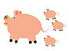 猪小猪崽 | 向量插图