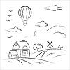 Luftballon über dem Land