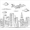 Flugzeug über einer Stadt