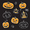 Pumpkins Sketched | Stock Vector Graphics