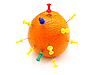 Photo 300 DPI: colourful office pins thrust in an orange