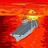 Flugzeugträger auf Wellen