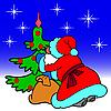 ID 3073961 | 산타 클로스와 크리스마스 트리 | 벡터 클립 아트 | CLIPARTO