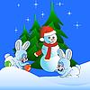 Zwei weiße Hasen und der Schneemann