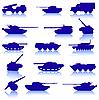 ID 3074131 | Set von Panzern und Kanonen | Stock Vektorgrafik | CLIPARTO