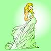 Vektor Cliparts: Die schöne schwangere Frau in einem langen Kleid