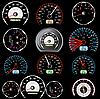 Vektor Cliparts: Set von Auto-Geschwindigkeitsmessern