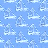 Vektor Cliparts: nahtlose Tapete mit einem Segelboot