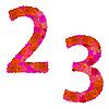 Vektor Cliparts: Blumen-Alphabet aus roten Rosen, Zeichen 2-3