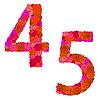 Vektor Cliparts: Blumen-Alphabet aus roten Rosen, Zeichen 4-5
