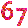Vektor Cliparts: Blumen-Alphabet aus roten Rosen, Zeichen 6-7