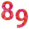Vektor Cliparts: Blumen-Alphabet aus roten Rosen, Zeichen 8-9