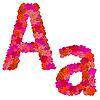 Vektor Cliparts: Blumen-Alphabet Zeichen Aa