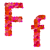 Vektor Cliparts: Blumen-Alphabet aus roten Rosen, Zeichen Ff