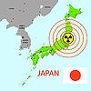Japan-Karte mit der Gefahr auf ein Atomkraftwerk