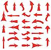 Set von roten Pfeilen