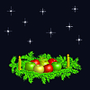 圣诞花环与苹果和蜡烛 | 向量插图