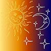 Mond und Sonne mit Gesichtern