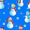 雪人和雪花无缝背景 | 向量插图