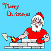Santa Claus muskulös baut ein Haus aus Backsteinen.