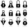 Vektor Cliparts: Eine Reihe von Metall-Schlössern in verschiedenen Formen