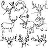 Set von Hirschen, Elchen und Ziegen