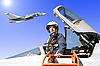 ID 3181146 | Das Militär Pilot in der Ebene | Foto mit hoher Auflösung | CLIPARTO