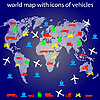 ID 3185668 | Mapa świata z ikonami transportu dla podróżujących. | Klipart wektorowy | KLIPARTO