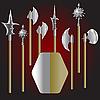 mittelalterliche Waffen und Schild