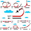 Kunstflug Flugzeug auf blauen Himmel Hintergrund