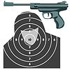 Waffe, Pistole gegen Ziel.