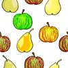 Nahtlose Muster Obst Äpfel und Birnen