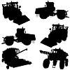 Landwirtschaftliche Fahrzeuge. Set von Silhouetten
