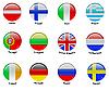runde Icons mit Europäische Flaggen
