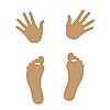Silhouetten von Händern und Füßen