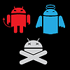 Android robot different versions of the appearance | 向量插图