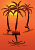 Palmen und orangefarbener Himmel mit Sonne
